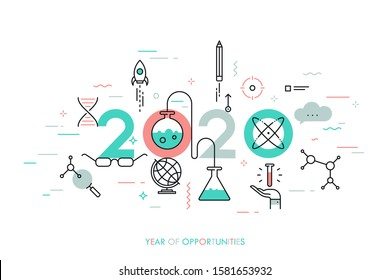 Infographic concept, 2020 - year of opportunities. Trends and predictions in science, education, scientific studies and discoveries, research, development. Vector illustration in thin line style.
