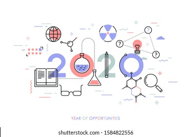 Infographic concept, 2020 - year of opportunities. Plans, trends and expectations in science, education, scientific research and development, higher education. Vector illustration in thin line style.