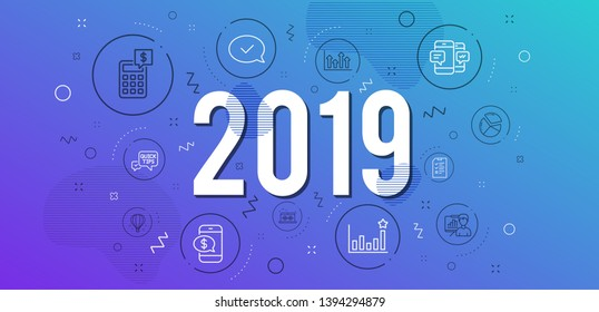 Infographic concept. Approved message, Efficacy and Presentation board icons simple set. Air balloon, Smartphone sms and Music making signs. Pie chart, Calculator and Phone payment symbols. 2019 year