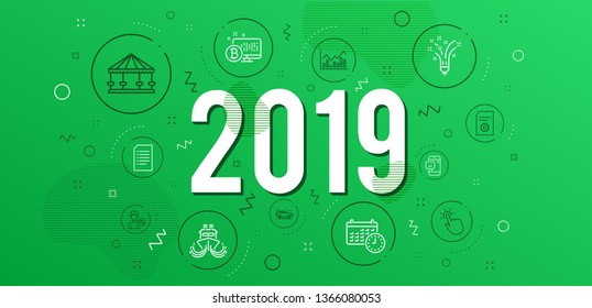 Infographic concept. Carousels, Inspiration and File settings icons simple set. Car, Search people and Infochart signs. Bitcoin system, Ship and Touchpoint symbols. Calendar, Smile and Document