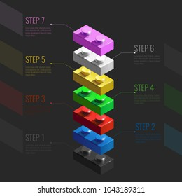 Infographic concept from colorful 3d Lego building blocks. lego bricks. 3d Infographic stairs
