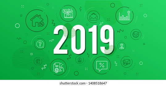 Infographic concept. Discount message, Businessman person and Ab testing icons simple set. Mail, Computer mouse and Efficacy signs. Loan house, Sale coupon and Travel loan symbols. 2019 year. Vector