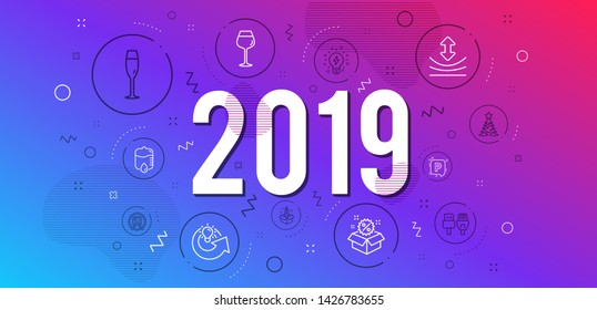 Infographic concept. Inspiration, Startup and Metro subway icons simple set. Share idea, Parking and Bordeaux glass signs. Christmas tree, Champagne glass and Resilience symbols. 2019 year. Vector