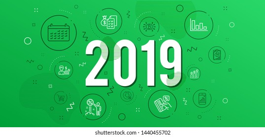 Infographic concept. Internet shopping, Accounting wealth and Loan percent icons simple set. Bitcoin system, Graph phone and Credit card signs. Histogram, Graph chart and Report symbols. 2019 year
