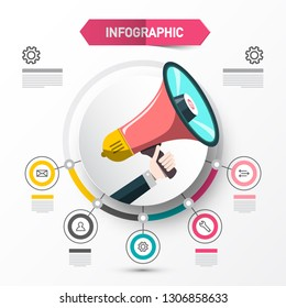 Infographic Concept with Megaphone. Data Flow Chart Template with Circle Labels. Vector Web Layout for Companies. Four Steps Infographics Announcement Design.