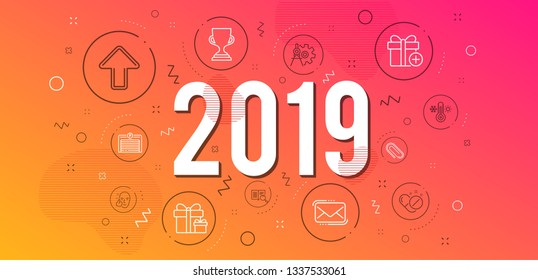 Infographic concept. Surprise package, Search text and Messenger mail icons simple set. Healthy face, Thermometer and Add gift signs. Paper clip, Upload and Medical pills symbols. 2019 year. Vector