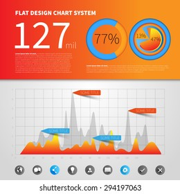 Infographic concept template with flat design graph