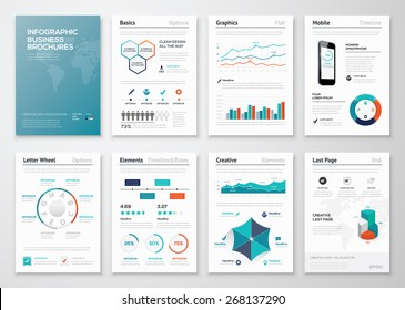 Infographic corporate brochures for business data visualization. Big set of modern infographic vector elements for web, print, magazine, flyer, brochure, media, marketing and advertising concepts.