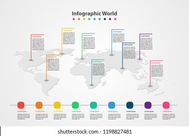 infographic country world map, international world flags, continents background