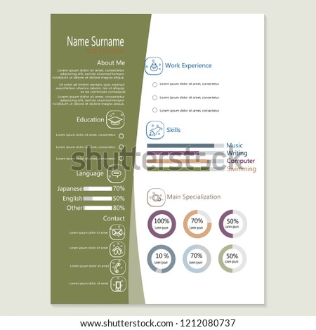 Infographic Cv Resume Template Design Vector