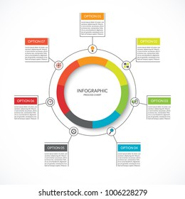 Infographic cycle diagram. Process chart with 7 options. Vector circle template for business infographics. Can be used for graph, presentation, report, step options, web design.