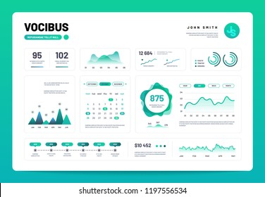 Infographic dashboard. Admin panel interface with green charts, graphs and diagrams. Website design vector template graph and diagram infographic, vector illustration