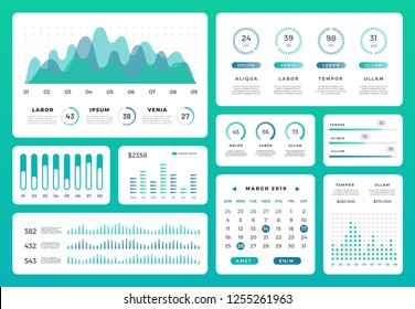 Infographic dashboard statistics workflow info.  Modern ui chart with green diagrams and graphs. Collection of 3D website vector template analytics.