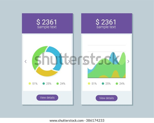 Infographic Dashboard Template Flat Design Graphs Stock