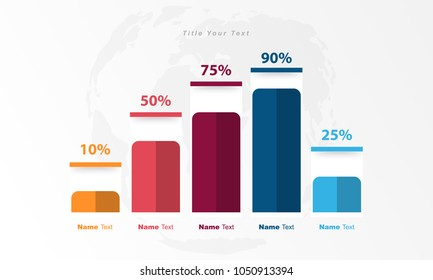 Infographic  data bar, table, chart, graph for use in business plan on grey background.