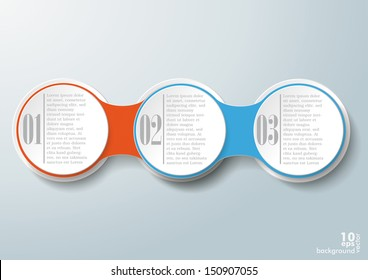 Infographic design with 3 options on the grey background. Eps 10 vector file.
