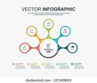 Infographic design with 5 options circles template
