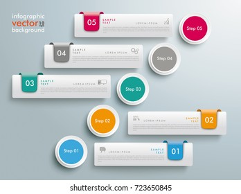 Infographic design with 5 tabs on the grey background. Eps 10 vector file.