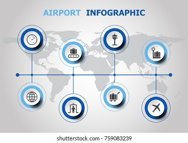 Infographic design with airport icons, stock vector