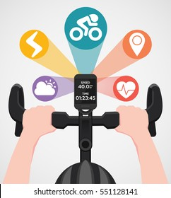 Infographic design bike computers and set icon of holding a position on your handlebars ,Modern flat vector illustration