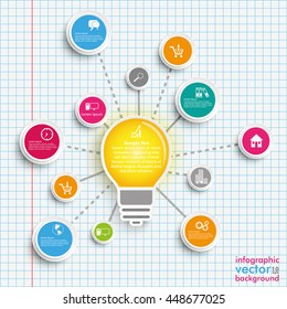 Infographic design with bulb, network and circles on the checked paper background. Eps 10 vector file.