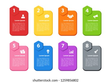 Infographic design business concept vector illustration with 8 steps or options or processes represent workflow or flowchart or diagram for brochure, annual report or presentation