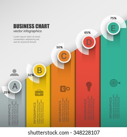 Infographic design business process with 5 options, parts, steps progress. Can be used for workflow layout, diagram, number options, web design.