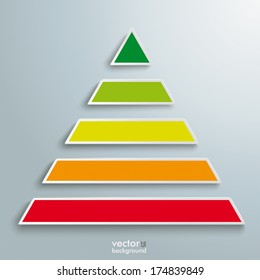 Infographic design with colored pyramid on the grey background. Eps 10 vector file.