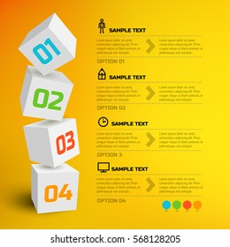 Infographic design concept with 3d cubes text line icons and four options on orange background vector illustration