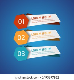 Infographic Design Elements with 3 different color, red, yellow, blue. Template for diagram, graph, presentation and chart. Business concept with 3 options, parts, steps, processes.Vector illustration
