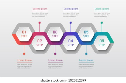 Infographic design elements for your business data with 6 options, parts, steps or processes. Vector timeline illustration.