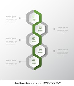 Infographic design elements for your business data with 5 options, parts, steps or processes. Vector timeline vertical illustration.