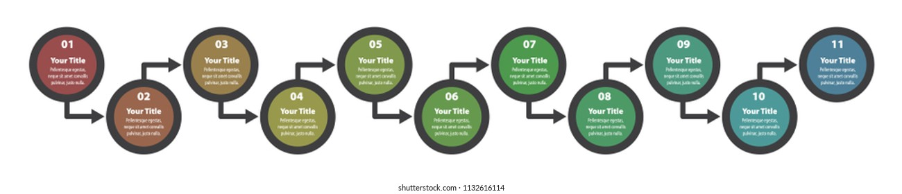Infographic design elements for your business data with 11 steps, options or parts. Vector Illustration EPS 10.