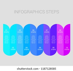 Infographic design elements for your business with 10 options, parts, steps or processes, Vector Illustration, EPS10