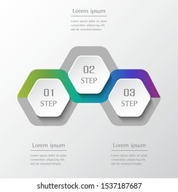 Infographic design elements for your business data with 3 options, parts, steps or processes. Horizontal timeline illustration.