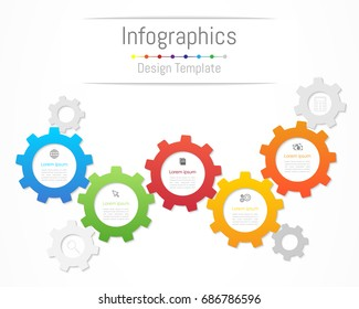 Infographic design elements for your business data with 5 options, parts, steps, timelines or processes. Gear wheel concept, Vector Illustration.