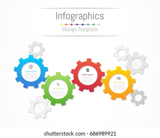 Infographic design elements for your business data with 4 options, parts, steps, timelines or processes. Gear wheel concept, Vector Illustration.
