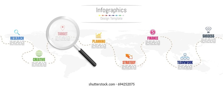 Infographic design elements for your business data with 8 options, parts, steps, timelines or processes and transparent magnifying glass.World map of this image furnished by NASA, Vector Illustration