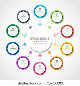 Infographic design elements for your business data with 10 options, parts, steps, timelines or processes, Circle round concept. Vector Illustration.