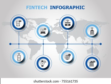 Infographic design with fintech icons, stock vector