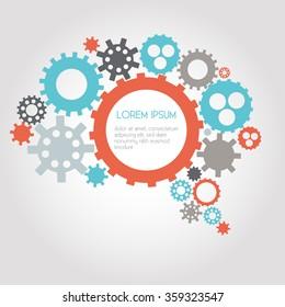 Infographic Design Gears, Brain, Idea, Creativity, Thinking - vector eps10