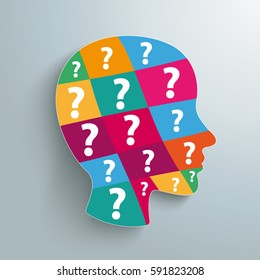 Infographic design with human head and question marks. Eps 10 vector file.
