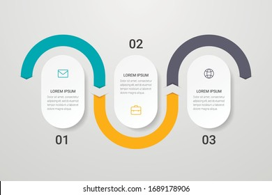 Infographic design with icons and 3 options or steps. Can be used for presentations, flow charts, web sites, banners, printed materials. Vector illustration.