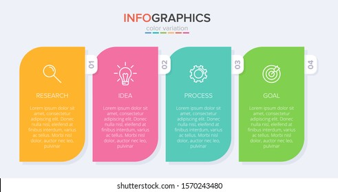 Infographic design with icons and 4 options or steps. Thin line vector. Infographics business concept. Can be used for info graphics, flow charts, presentations, web sites, banners, printed materials.