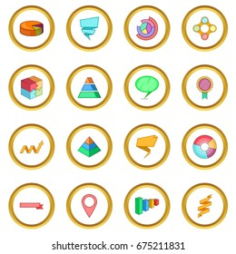 Infographic design icons circle gold in cartoon style isolate on white background vector illustration