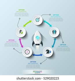 Infographic design layout: 5 circular elements connected by double-sided arrows and spacecraft taking off in center. Necessary conditions for startup launch. Vector illustration for website, report.