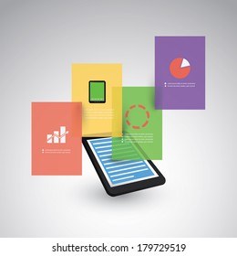 Infographic Design - Mobile Phone, Tablet with Layers