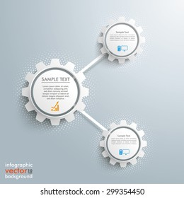Infographic design with network gears on the gray background. Eps 10 vector file.