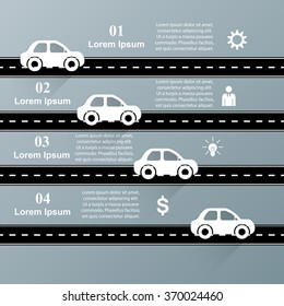 Infographic design on the grey background. Car icon. Road icon.