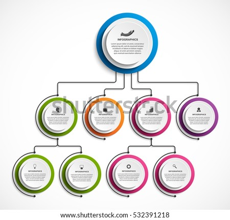 Infographic Design Organization Chart Template Stock Vector Royalty